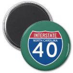 North Carolina NC I-40 Interstate Highway Shield - 6 Cm Round Magnet