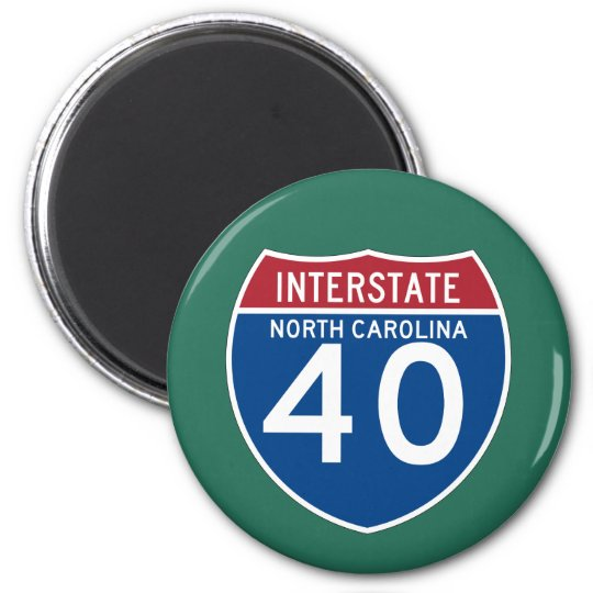 North Carolina NC I-40 Interstate Highway Shield - 6 Cm Round Magnet