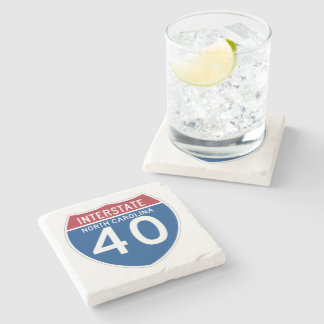 North Carolina NC I-40 Interstate Highway Shield - Stone Coaster