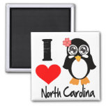 North Carolina Penguin - I Love North Carolina Square Magnet