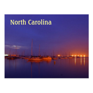 North Carolina sailboats in marina at dusk Postcard
