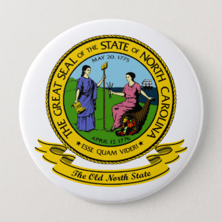 North Carolina Seal 10 Cm Round Badge