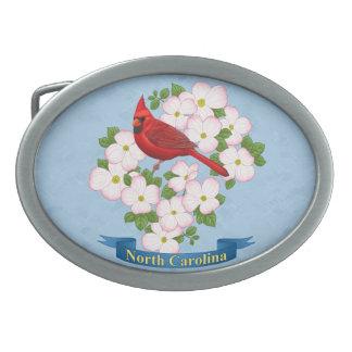 North Carolina State Cardinal Bird Dogwood Flower Belt Buckles