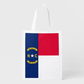 North Carolina State Flag Design Reusable Grocery Bag