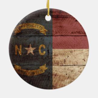 North Carolina State Flag on Old Wood Grain Christmas Ornament