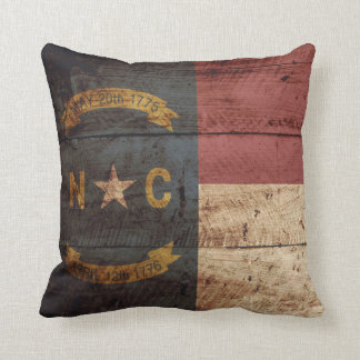 North Carolina State Flag on Old Wood Grain Cushion
