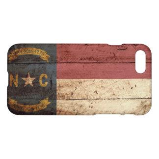 North Carolina State Flag on Old Wood Grain iPhone 7 Case