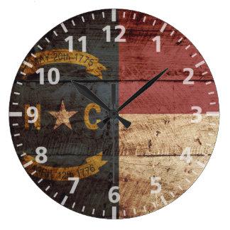 North Carolina State Flag on Old Wood Grain Large Clock