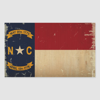 North Carolina State Flag VINTAGE. Rectangular Sticker