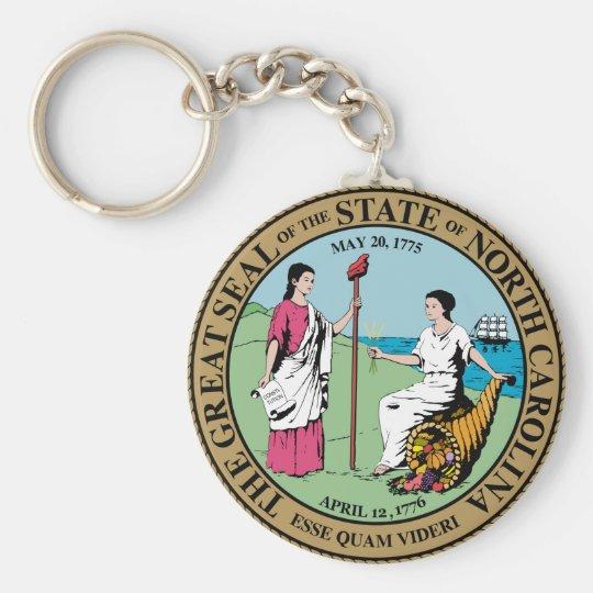 North Carolina State Seal Basic Round Button Key Ring