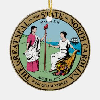 North Carolina State Seal Round Ceramic Decoration