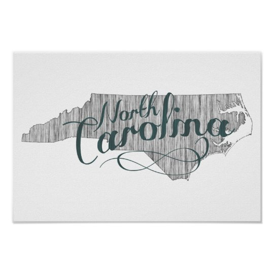 North Carolina State Typography Poster