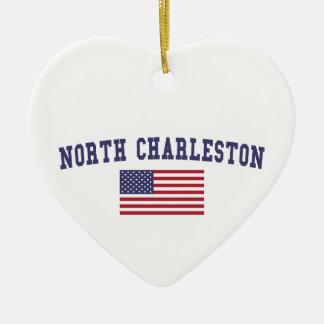 North Charleston US Flag Christmas Ornament