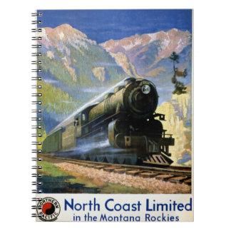 North Coast Limited Vintage Travel Poster Restored Notebooks