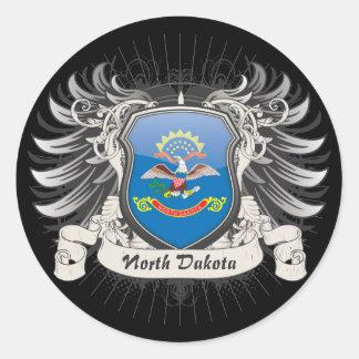 North Dakota Crest Round Stickers