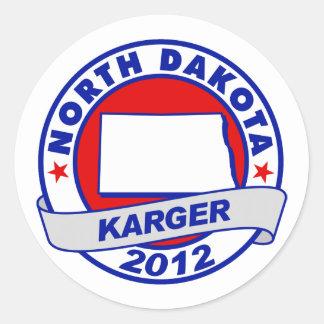 North Dakota Fred Karger Round Sticker
