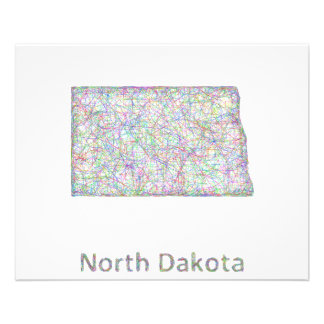 North Dakota map 11.5 Cm X 14 Cm Flyer