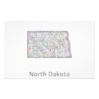North Dakota map 14 Cm X 21.5 Cm Flyer