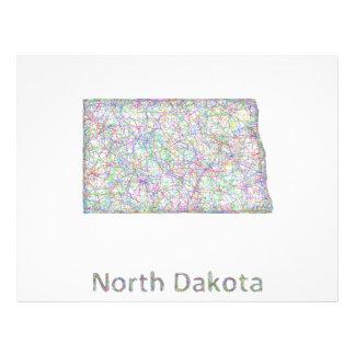 North Dakota map 21.5 Cm X 28 Cm Flyer