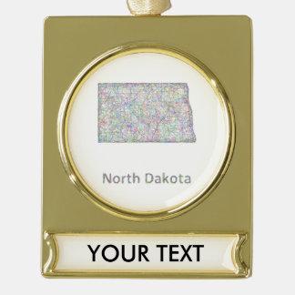 North Dakota map Gold Plated Banner Ornament