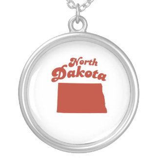 NORTH DAKOTA Red State Round Pendant Necklace