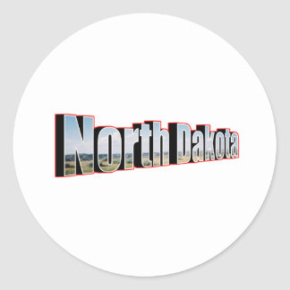 north dakota round sticker