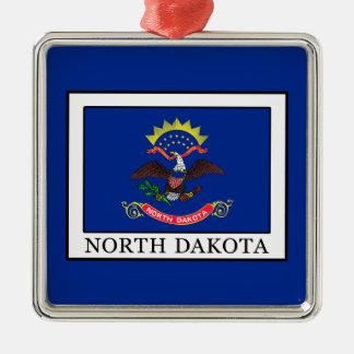 North Dakota Silver-Colored Square Decoration