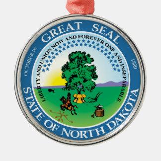 North Dakota state seal america republic symbol fl Silver-Colored Round Decoration