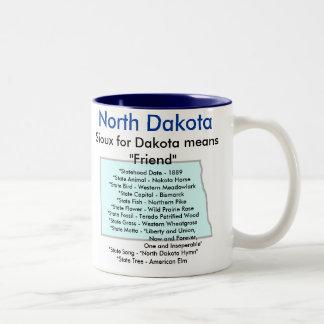 North Dakota Symbols & Map Two-Tone Coffee Mug