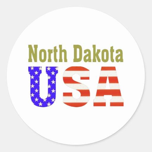 North Dakota USA Aashen alpha Round Stickers