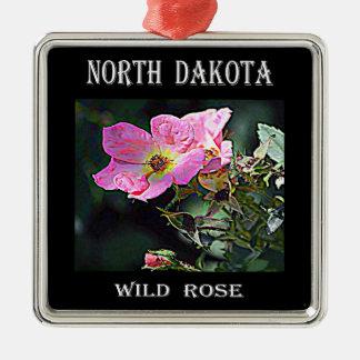 North Dakota Wild Rose Christmas Ornament