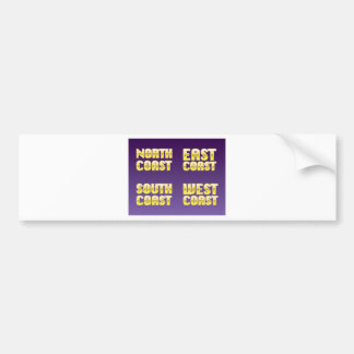 North East South West Coast golden letters Bumper Sticker