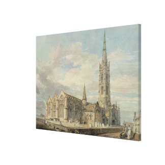 North-east View of Grantham Church, Lincolnshire, Canvas Print