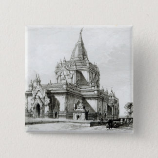 North Eastern view of Gaudapalen Temple at Pagan 15 Cm Square Badge