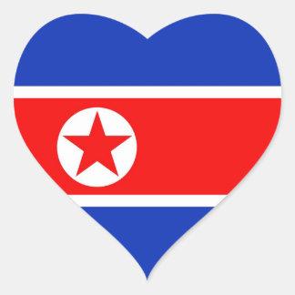 North Korea Flag Heart Sticker
