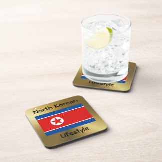 North Korea Flag+Text Coaster