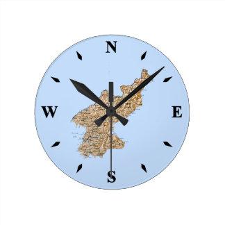 North Korea Map Clock