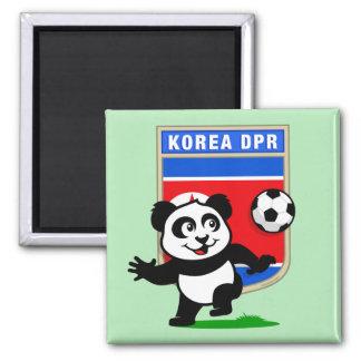 North Korea Soccer Panda Square Magnet