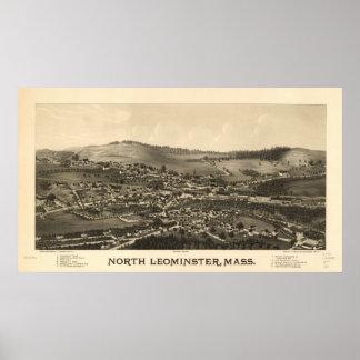North Leominster Mass. 1887 Antique Panoramic Map Print