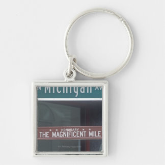 'North Michigan Avenue and The Magnificent Mile Silver-Colored Square Key Ring