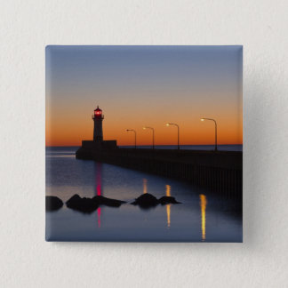 North pier Lighthouse in Duluth, Minnesota, 15 Cm Square Badge