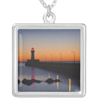 North pier Lighthouse in Duluth, Minnesota, Silver Plated Necklace