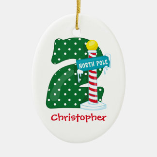 North Pole 2nd Birthday Christmas Ornament