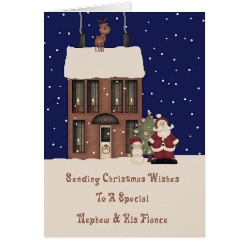North Pole Christmas Wishes Nephew & Fiance Greeting Card