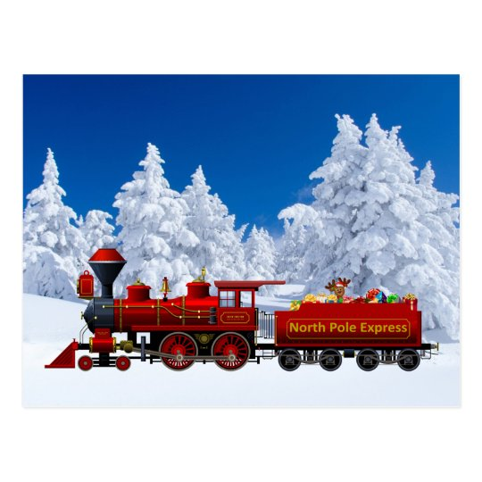north pole express christmas train postcard