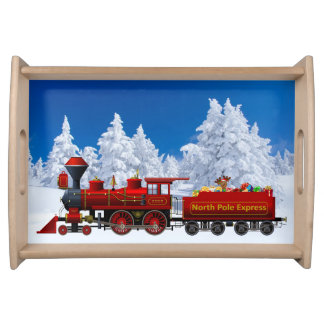 north pole express christmas train serving tray