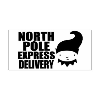 North Pole Express Delivery Elf Rubber Stamp