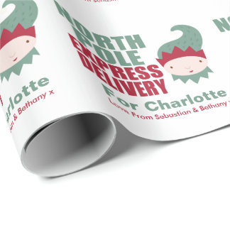 North Pole Express Delivery Personalized Elf Wrapping Paper