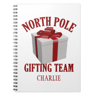 North Pole Gifting Team custom name notebook
