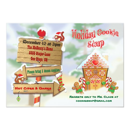 North Pole Holiday Cookie Swap Invitations